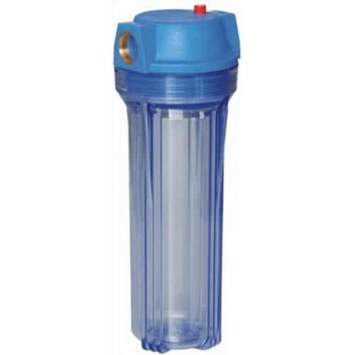 """Стандартный корпус 10"""". Вход и выход 3/4"""" (латунные резьбовые вкладки). Материал - синий пластик, прозрачный пластик. Температура фильтруемой воды - до 40 град. Давление - до 0,8 МПа. Производительность до 12 л/мин. Фильтруемая вода - холодная"""