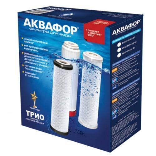 Комплект сменных модулей Аквафор В510-03-04-07 Данный комплект картриджей для фильтров Аквафор, серии Трио. Обеспечивает глубокую очистку воды от хлора, органических соединений и других примесей. Обеззараживает воду, снижает жесткость воды. Оптимально подходит для жесткой воды.